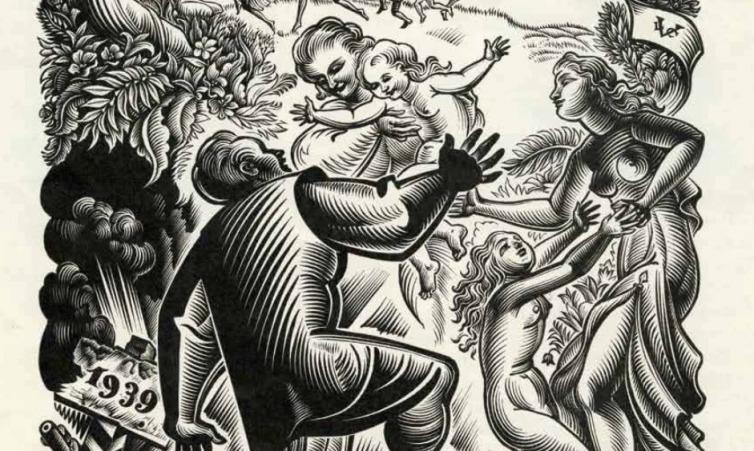 Détail, gravure de Vincent Le Campion, carte de voeux